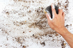 Hand with wet sponge wiping very dirty surface Royalty Free Stock Photos