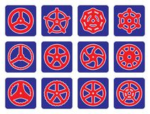 Hand wheel icon set on blue backgrounds Stock Photography