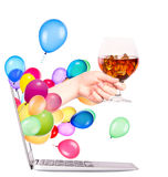 Hand with whiskey and  laptop Stock Photos