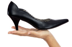 Hand whit shoe Royalty Free Stock Photo