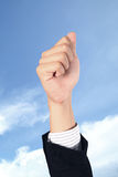 Hand whit victory signal. Business man hand whit victory signal on sky Royalty Free Stock Photography
