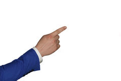 Hand on white background. Finger of a man in a suit shows up Royalty Free Stock Images