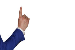 Hand on white background. Finger of a man in a suit shows up Stock Images