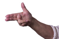 Hand on white background. Hands on white backgrounds pointing to the side Royalty Free Stock Photography