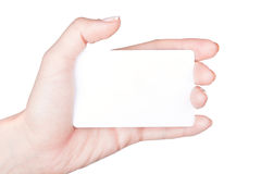 Hand with white card Royalty Free Stock Photography