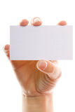 Hand with white card Stock Photo