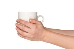 Hand with white cup Royalty Free Stock Photo