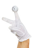 Hand in white glove and angry finger puppet Stock Photography