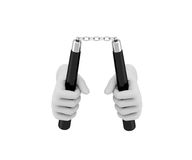 Hand in a white glove holding a nunchaku. 3d render. White backg Royalty Free Stock Photos