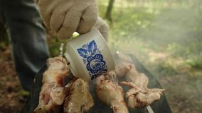 Hand on white glove pour water from porcelain cup on chicken on mangal. Process of preparing meat on fire. Close up view stock video footage