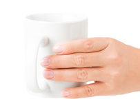 Hand white mug Royalty Free Stock Images