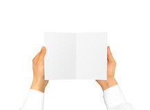 Hand in white shirt sleeve holding blank booklet card in the han. D. Offset brochure presentation. Pamphlet hand man. Man show paper. Sheet template. Booklet stock image