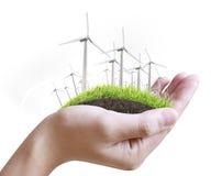 In hand windturbine Stock Foto