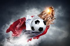 We did it. Hand of winner tighten the cup against blue sky background Royalty Free Stock Image