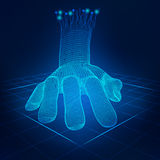 Hand. Wireframe hand touching digital interface, concept of communication world Stock Photos