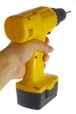 Hand with wireless power drill isolated Stock Photography