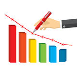 Hand wirh red pen drawing a negative growth. Royalty Free Stock Photos