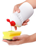 Hand With A Detergent Plastic Bottle Isolated Royalty Free Stock Photo