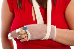 Free Hand With A Splint On The Middle Finger Stock Photo - 37726160