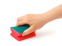 Hand With Cleaning Sponge Royalty Free Stock Photos