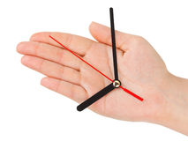 Hand With Clock-hands Stock Photo