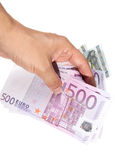 Hand With Euro Bills Royalty Free Stock Photography