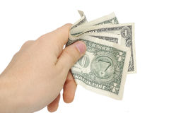 Hand With Few Bucks Isolated On White Stock Photography