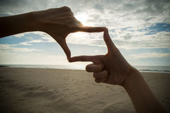 Hand With Frame Up Royalty Free Stock Photos