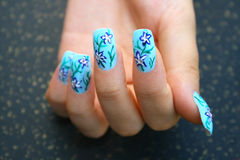 Hand With Nail Art Royalty Free Stock Photos
