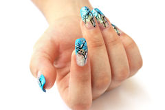 Hand With Nail Art Stock Photography
