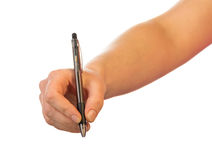 Hand With Pen On White Royalty Free Stock Image