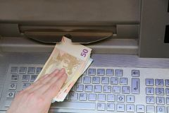 Money euro banknotes from an ATM of a European bank Royalty Free Stock Images