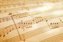 Hand witten music sheet stock images