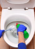 Hand of woman in blue glove cleaning toilet bowl Stock Photography