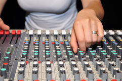 Hand of woman DJ Royalty Free Stock Photo