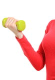Hand of woman during fitness exercise with dumbbells Stock Image