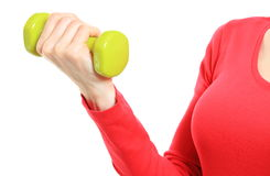 Hand of woman during fitness exercise with dumbbells Stock Photos