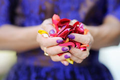 Hand of a woman full of rose petals Stock Images