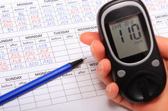 Hand of woman with glucometer and medical form Stock Images
