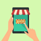 Hand of woman hold tablet and pointing or press to the shop online. Concept  online store on the smartphone concepts  illustration flat modern style Royalty Free Stock Images