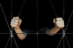 Hand of woman holding cage, abuse, human trafficking concept Royalty Free Stock Photo