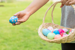 Hand of woman holding easter eggs Stock Image