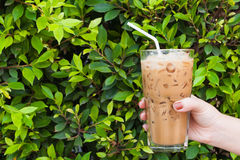 Hand woman holding the glass iced coffee on green nature background Stock Photos
