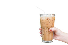 Hand woman holding the glass iced coffee isolated on white background Royalty Free Stock Photos