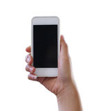 Hand of woman holding a smartphone isolated on white background. Royalty Free Stock Photo