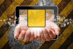 Hand woman pushing out of tablet-pc Royalty Free Stock Photo