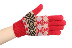 Hand of woman in red woolen glove. White background Stock Photo