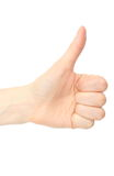 Hand of woman showing thumbs up on white background Royalty Free Stock Photo