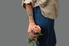Hand of a woman with a tattoo holding a rose, slender legs of a girl in jeans on a dark background with space for text Stock Photography