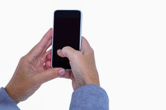 Hand of woman touching smartphone Stock Image